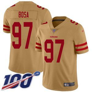 Mens 49ers #97 Nick Bosa 100th Jersey Inverted